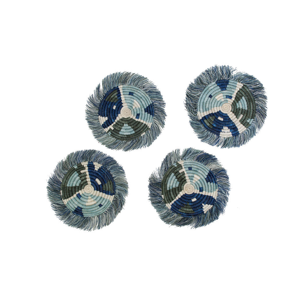 Silver Blue Matisse Fringed Coasters