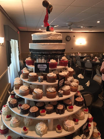Side view of cake and dessert tower