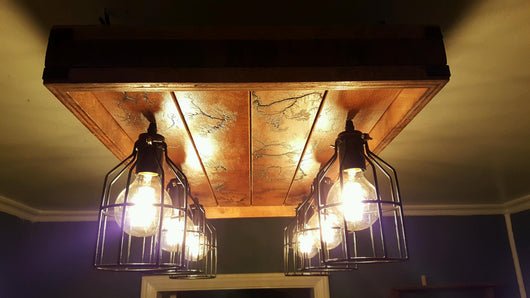 Craft Farmhouse-Style Light Fixture - Mahogany & Chestnut - 6-bulb, 4-panel