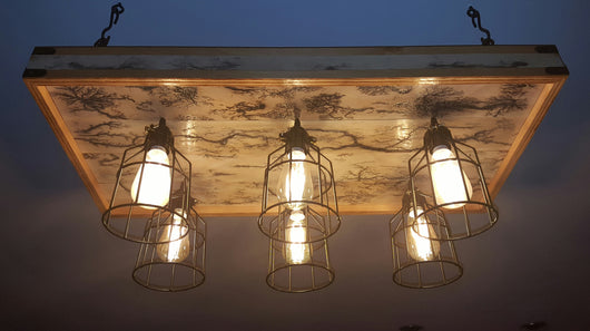 Craft Farmhouse-Style Light Fixture - White Wash - 6-bulb, 4-panel