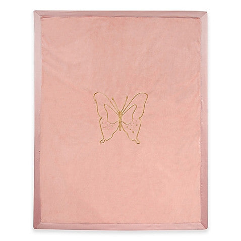 Lambs & Ivy® Metallic Butterfly Blanket in Coral/Gold