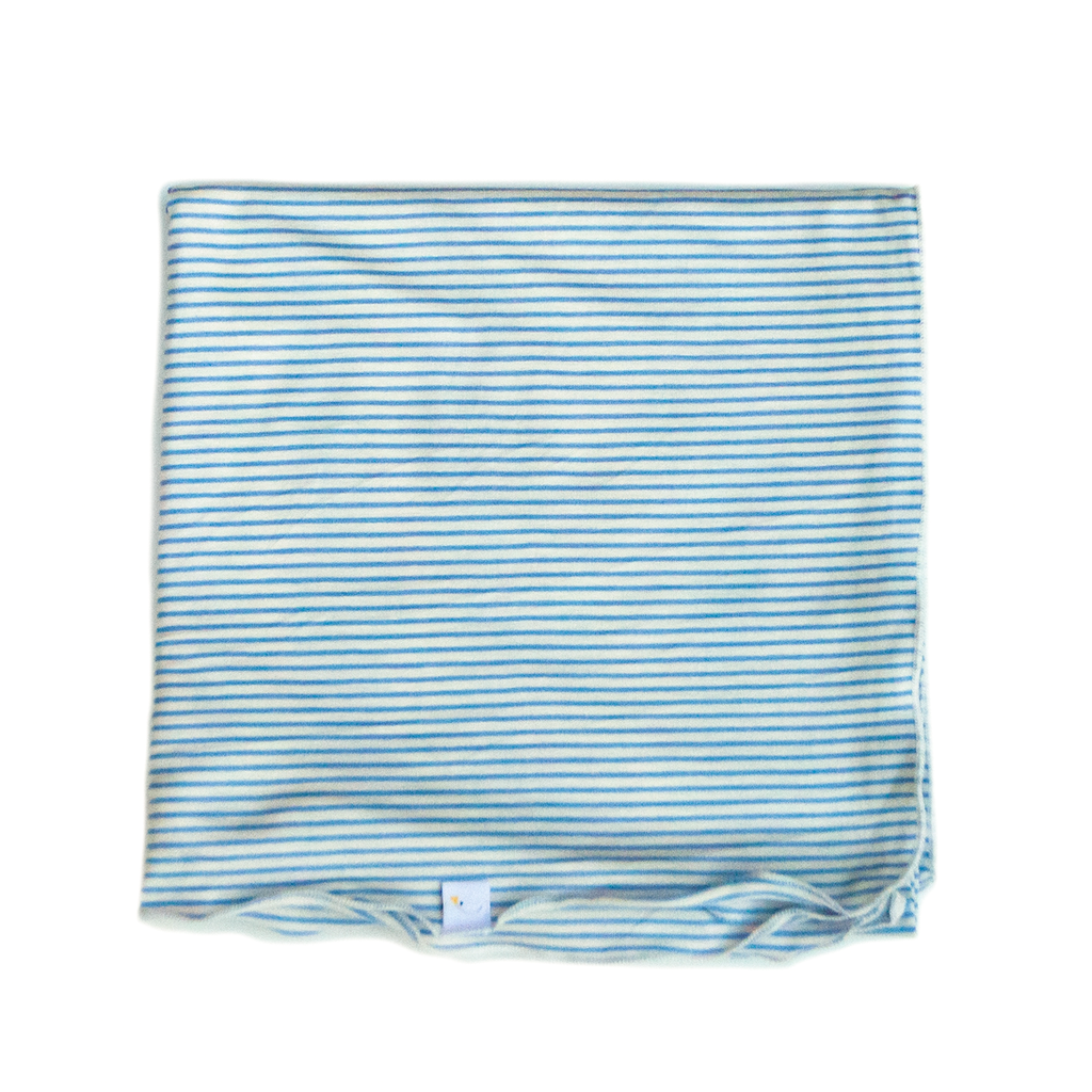 pin stripe / baby blue / swaddle + beanie