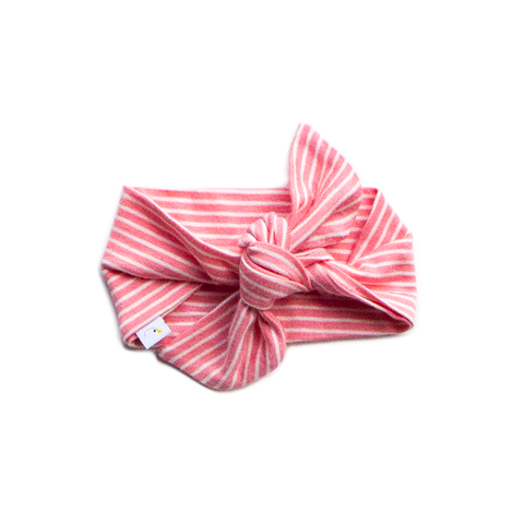 pin stripe / coral  / knotted headband