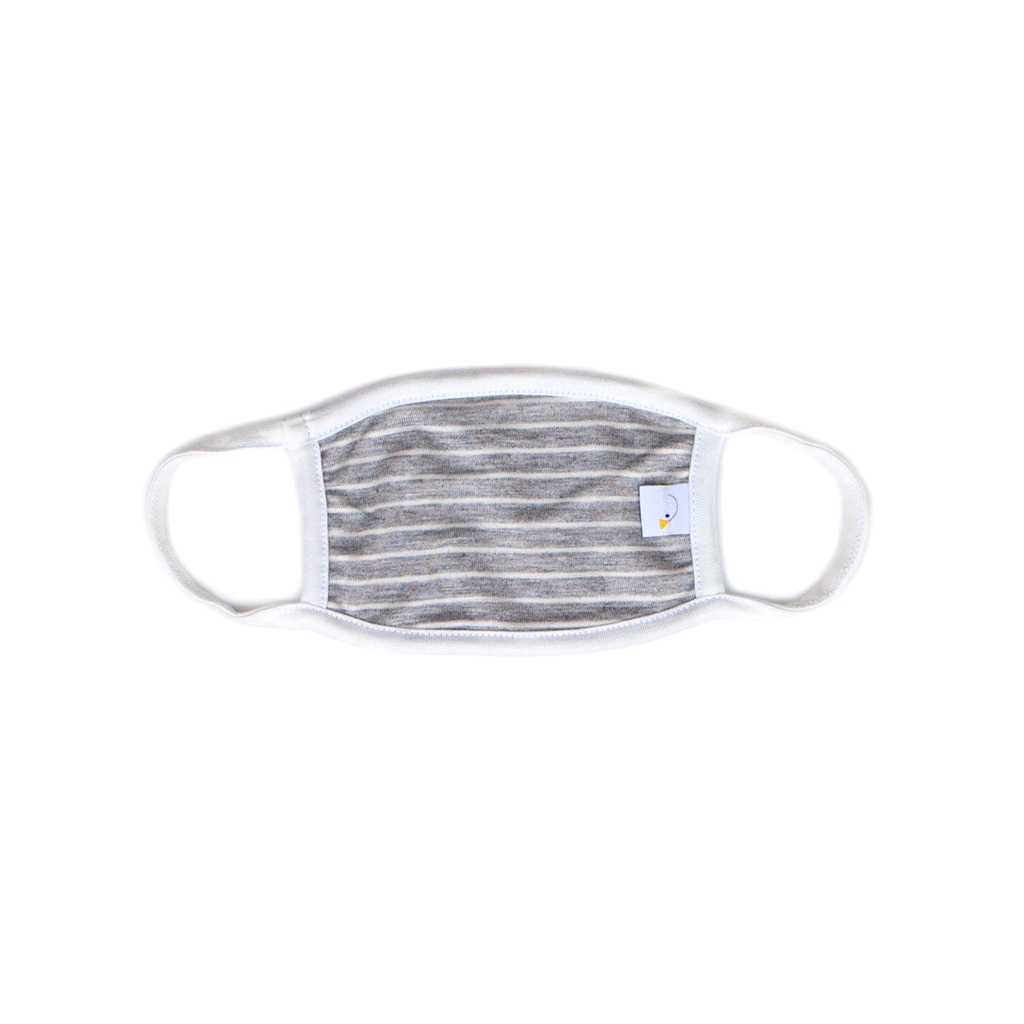 heather grey stripe / kids face mask