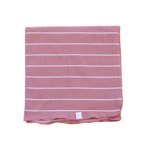 pink stripe / pointelle / swaddle + headband set