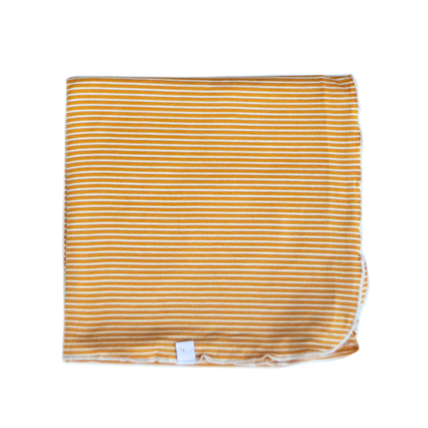 pin stripe / mustard / swaddle + beanie set