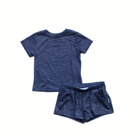 pin stripe / navy / short set