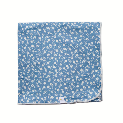 poppy / blue swaddle + headband