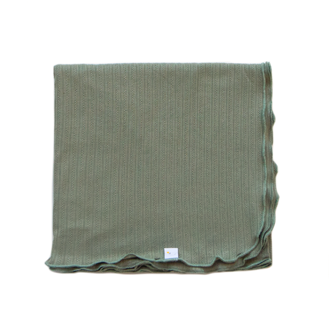 sage green / pointelle / swaddle + headband set