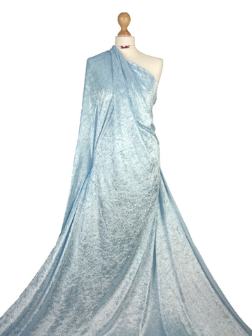 Baby Blue Crushed Velvet Medium Weight 2 Way stretch Fabric CV01