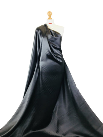 Black Stretch Satin Polyester Spandex Fabric SS01BK