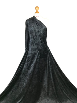 Black Crushed Velvet Medium Weight 2 Way stretch Fabric CV01