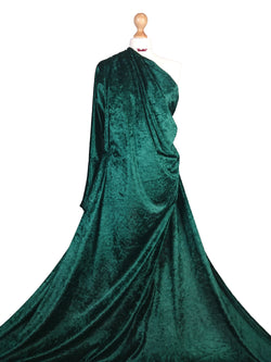 Bottle Green Crushed Velvet Medium Weight 2 Way stretch Fabric CV01