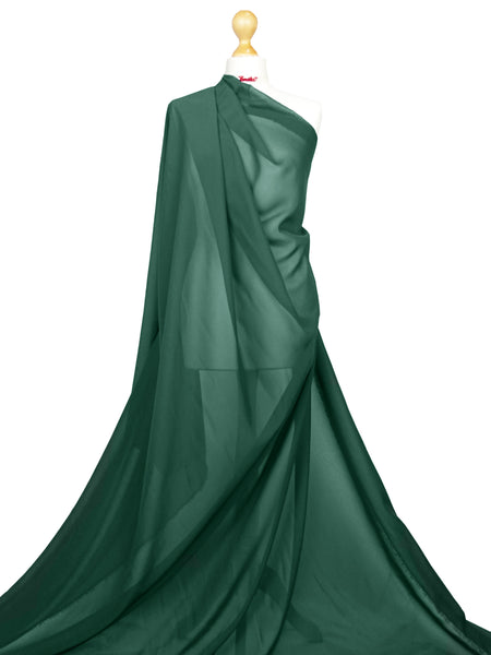 Bottle Green Chiffon Soft Polyester Sheer Fabric CH01BG