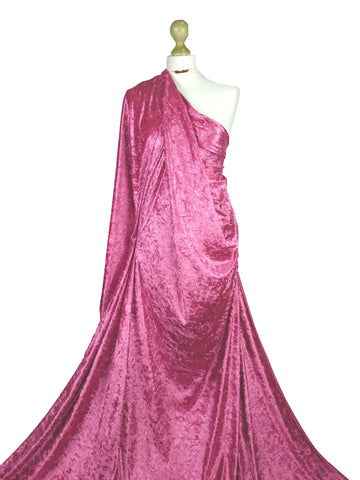 Cerise Crushed Velvet Medium Weight 2 Way stretch Fabric CV01