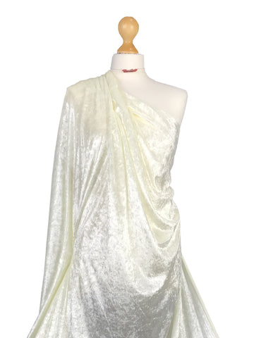 Ivory Crushed Velvet 2 Way stretch Fabric CV01