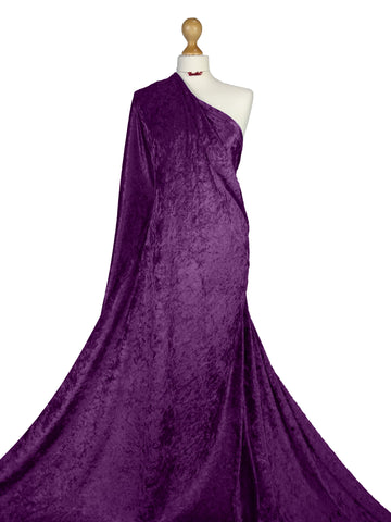 Damson Crushed Velvet Medium Weight 2 Way stretch Fabric CV01