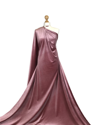 Dusty Pink Velour 4 Way Stretch Spandex Velvet Fabric PV01DPN
