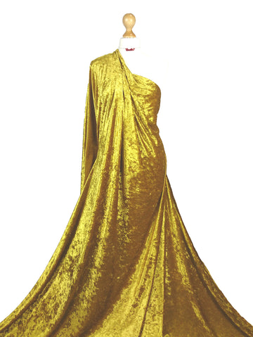 Gold Crushed Velvet Medium Weight 2 Way stretch Fabric CV01