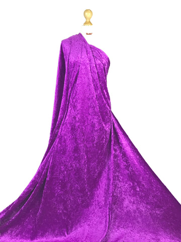 Magenta Crushed Velvet Medium Weight 2 Way stretch Fabric CV01