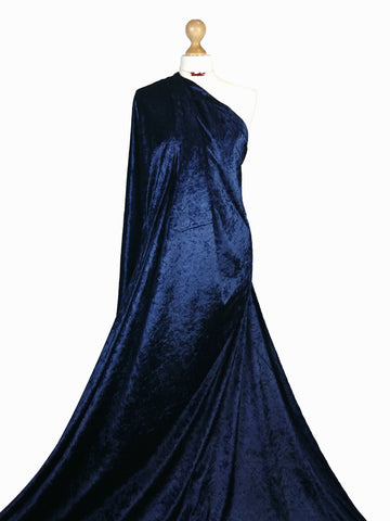 Navy Blue Crushed Velvet Medium Weight 2 Way stretch Fabric CV01