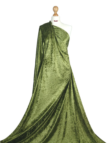 Olive Crushed Velvet Medium Weight 2 Way stretch Fabric CV01