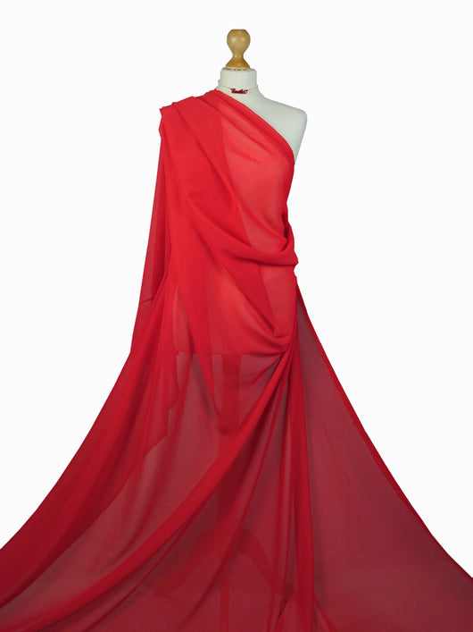 Red Chiffon Soft Polyester Sheer Fabric CH01RD
