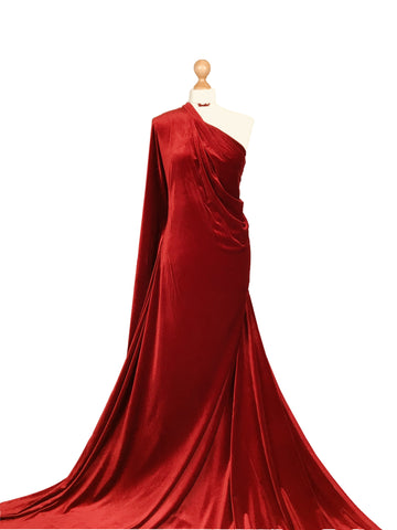 Red Velour 4 Way Stretch Spandex Velvet Fabric PV01RD
