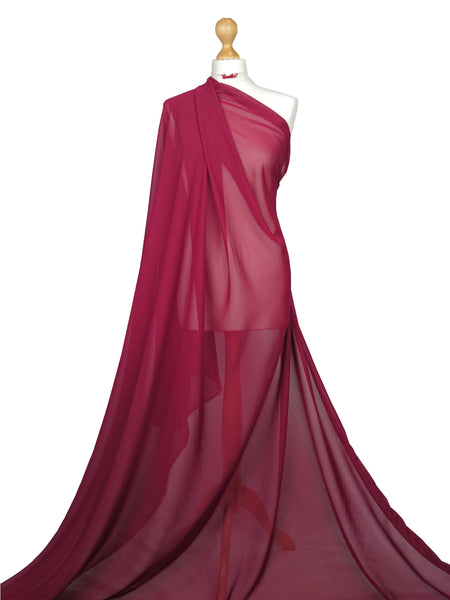 Red Wine Chiffon Soft Polyester Sheer Fabric