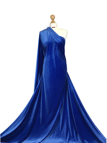 Royal Blue Velour 4 Way Stretch Spandex Velvet Fabric PV01RBL