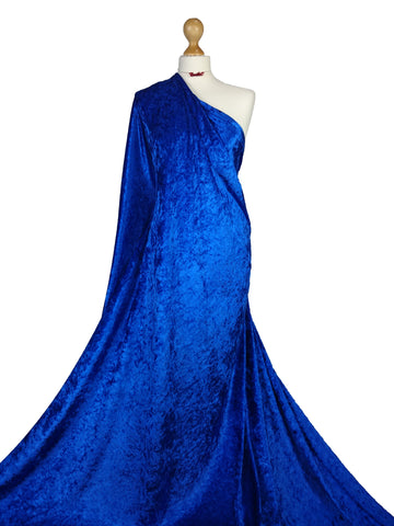 Royal Blue Crushed Velvet 2 Way stretch Fabric CV01