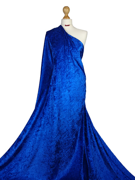 Royal Blue Crushed Velvet Medium Weight 2 Way stretch Fabric CV01