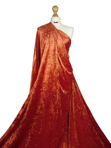 Rust Crushed Velvet Medium Weight 2 Way stretch Fabric CV01