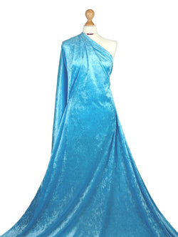 Turquoise Crushed Velvet Medium Weight 2 Way stretch Fabric CV01