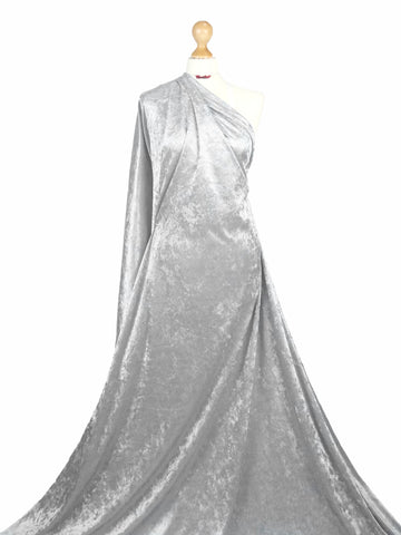 Silver Crushed Velvet 2 Way stretch Fabric CV01
