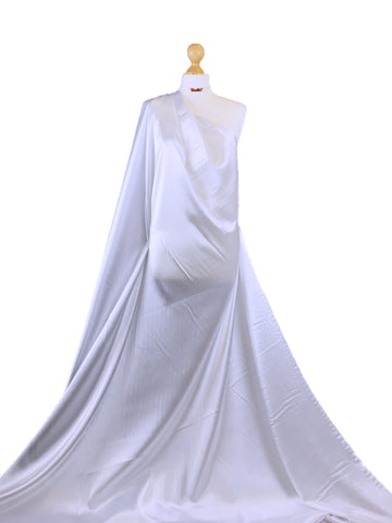 White Stretch Satin Polyester Spandex Fabric SS01WH