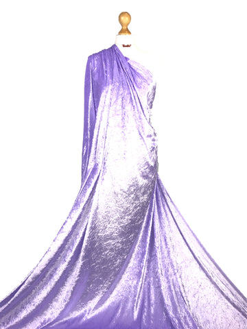 Lilac Crushed Velvet Medium Weight 2 Way stretch Fabric CV01
