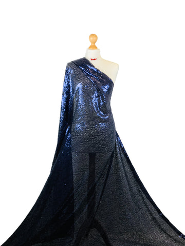 Navy Blue Sequin 2 Way Stretch Fabric SF01NB