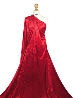 Red Crushed Velvet Medium Weight 2 Way stretch Fabric CV01