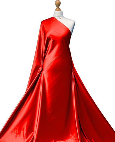 Red Stretch Satin Polyester Spandex Fabric SS01RE