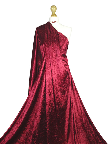 Red Wine Crushed Velvet Medium Weight 2 Way stretch Fabric CV01