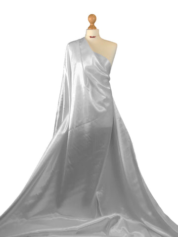 Silver Budget Satin Polyester Fabric BS01SL