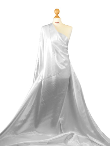 Pure White Budget Satin Polyester Fabric BS01PW
