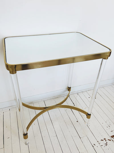 Gold Accent Mirror Side Table