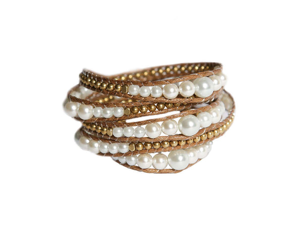 Pearl White and Gold Wrap Bracelet