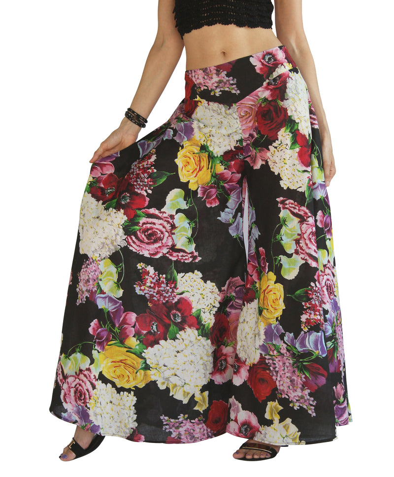Wide Leg Palazzo Pants - Black with Rose