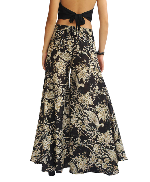 Wide Leg Palazzo Pants - Black and Golden Brids Print