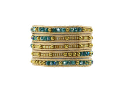 Teal and Gold Wrap Bracelet