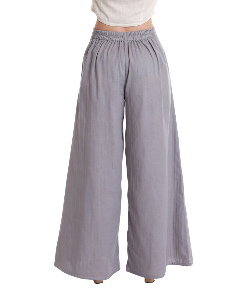 Casual Palazzo Pants with Pockets, Organic Cotton, Light Gray