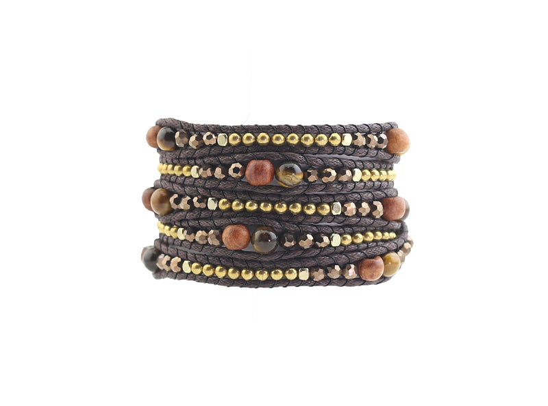 Brown and Gold Wrap Bracelet with Tiger-Eye Gemstones